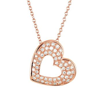 1/4 Cttw Diamond Heart Necklace in 14k Rose Gold, 18 Inch
