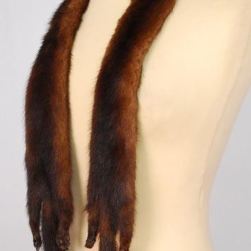 "Minks Mink Fur Scarf Stole Wrap Collar Cape Shrug Taxidermy 2 Minks Legs Body Tail 54"" Beautiful Vintage 50's"