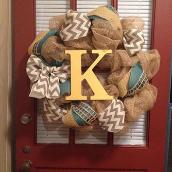 Yellow and teal burlap wreath - chevron wreath, initial wreath, monogram wreath, spring wreath, summer wreath, year round wreath, rustic