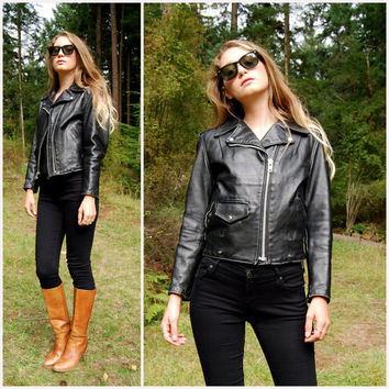 80s Perfecto Schott Black Leather Jacket Womens Small, Leather Motorcycle Jacket XS, Vintage Short Cropped Jacket, Leather Biker Jacket