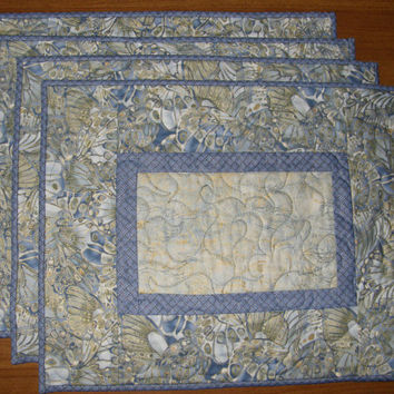 Periwinkle Blue Green Gold Embossed Quilted Place Mats Shades of Blue Quilt