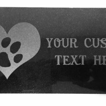 Customized 3D Laser Engraved Personalized Custom Black Granite Stone Dog Cat Pet Headstone Grave Marker Garden Plaque Memorial 12 x 6 inches (Paw Print)
