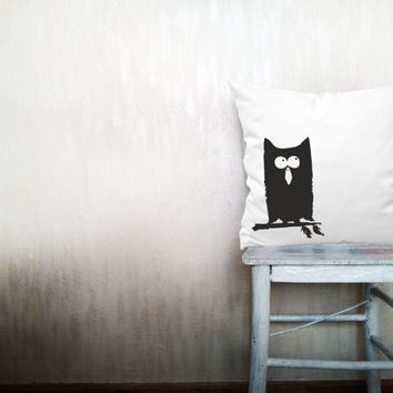 Owl pillow decorative throw pillow cover white cotton toss bird pillow cover hand painted cover rustic bedding bedroom set 18x18 inches