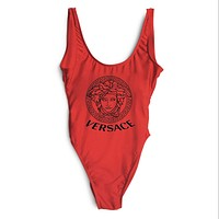 Versace New Fashion Women Logo Print Vest Type One Piece Bikini Swimsuit Bathing Red I-ZDY-AK