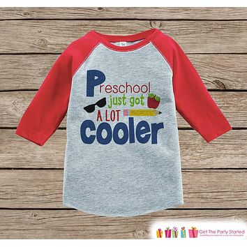 Boys Back to School Shirt - 1st Day of Preschool Outfit - Boys Red Raglan Tee - Toddler Boy My 1st Day of School Tshirt - Back to School Top