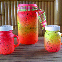 Neon Electric Ball Mason Jar and 2 Salt and Pepper Shakers