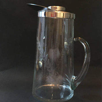 Mid Century Glass Cocktail Pitcher, Chill it Freezer Tube Pitcher, Martini Pitcher