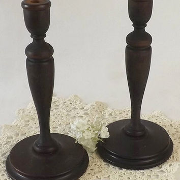 Pair Vintage Turned Wood Candlesticks, Wooden Candle Holders, Early American Style Mantel Display, Primitive Home Decor