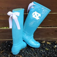 Custom Monogrammed UNC Blue Rain Boots with White bows
