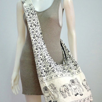 Absolute White - Bohemian Hippie Elephant Printed Cotton Crossbody Bag Sling Handmade Shoulder Bag Boho Hobo Messenger Bag Purse E124