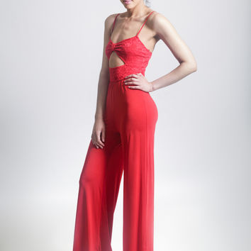 Red Flare Jumpsuit