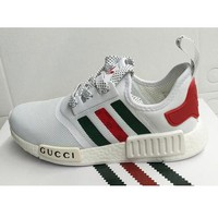 Adidas NMD X GUCCI Stylish Women Men Leisure Running Sneakers Sport Shoes White I