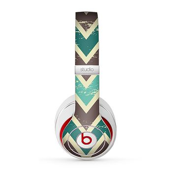The Vintage Green & Tan Chevron Pattern V3 Skin for the Beats by Dre Studio (2013+ Version) Headphones