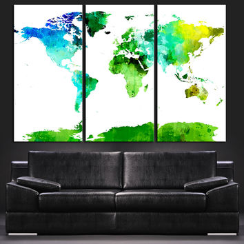 Green Turquoise and Blue World Map Canvas Print - Contemporary 3 Panel Triptych Colorful Abstract Turquoise Green Colors Large Wall Art