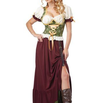 Adult Renaissance Wench (Small,Burgundy/Green)