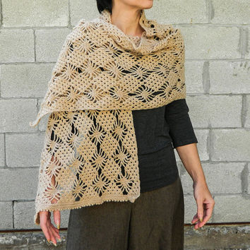 Handmade light beige lace crochet shawl long scarf wrap stole cozy and beautiful womens fashion accessory