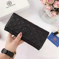 Tory Burch High Quality Popular Women Men Leather Leather Purse Wallet Black