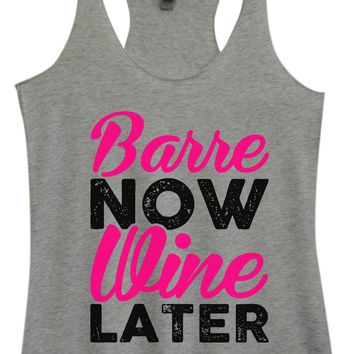 Womens Tri-Blend Tank Top - Barre Now Wine Later