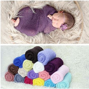 17 colors Soft Adorable Mohair material Baby Photo Wraps Elastic Stretchy Knit Wrap Newborn Photography Props Baby Swaddling