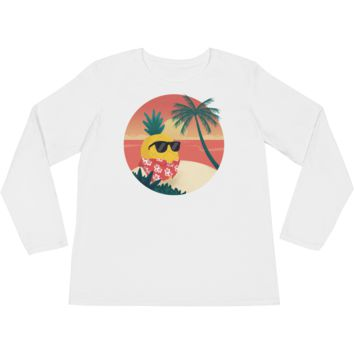 Pineapple Long Sleeve T Shirt For Women | Tropical Hawaiian Tee | The Jazzy Panda