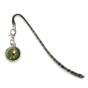 Runner - Running Track Long Distance Cross Country Metal Bookmark with Charm