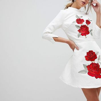 Chi Chi London Jacquard Mini Dress with Mandarin Neck and Rose Embroidery at asos.com