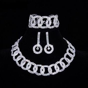 "16"" silver crystal link choker necklace 2"" earrings 7"" bracelet bridal prom pageant"