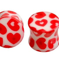 "Pair Plug Tunnel Red Heart Design ----Sold As a Pair ----(12mm-1/2"")"
