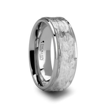 WINSTON Hammered Finish White Tungsten Ring 10mm