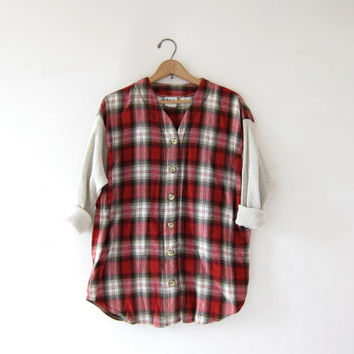 Vintage Tomboy Flannel / Grunge Thermo Shirt / Button Up Henley Flannel Jersey / Vneck Flannel