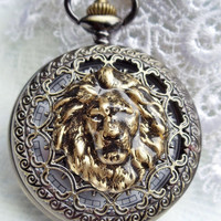 Lion head pocket watch,  men's lion pocket watch with black glass beads on watch chain