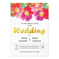 Watercolor and gold leaf floral summer wedding 5x7 paper invitation card