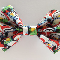 Christmas Penguin Fabric Hair Bow
