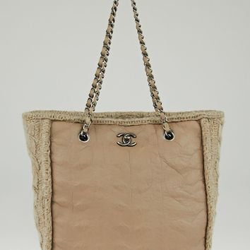 Chanel Beige Sheepskin Leather and Wool Chic Knit Tote Bag