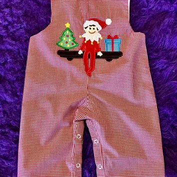 B & A 2017 Christmas Red/Green Elf On The Shelf Boys Romper