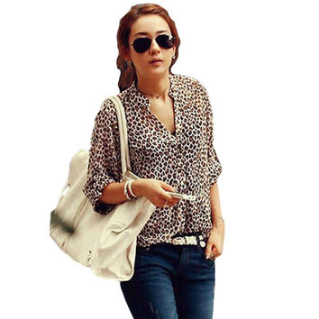 2016 New Spring Women's Stand Collar Camisas Femininas Loose Roll Sleeve Office Chiffon Shirt Blouse Leopard Print Tops Blusas