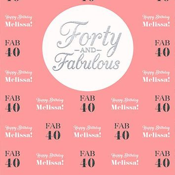 Pink Fabulous 40th Birthday Backdrop (Any Color) Background - C0238