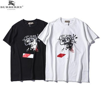 Burberry 2018 men's new round neck straight cotton casual T-shirt