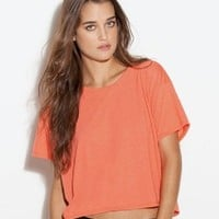 Boxy cropped flowy active tee ultral light weight top