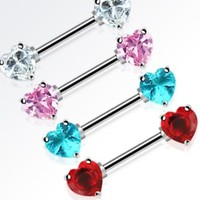 PAIR - DOUBLE HEART CZ GEM NIPPLE RINGS BODY PIERCING BARBELLS JEWELRY 14G 9/16""