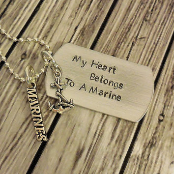 My Heart Belongs To A Marine , Soldier  Or Airmen Or Sailor With Your Choice Of Military Branch Charm / Military Dog Tag