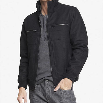 EXPRESS TECH WATER RESISTANT WOOL BLEND JACKET from EXPRESS