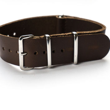 Leather NATO Strap Smooth Brown