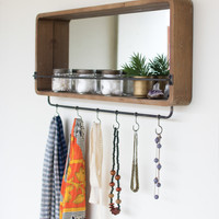 Rectangle Wooden Mirror with Coat Hooks