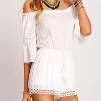 White Romper Half Sleeve Off the Shoulder Design