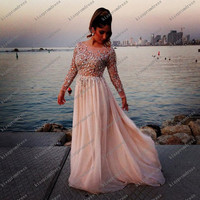 long Prom Dress/ Long Beaded Prom Dresses/Long Evening Dresses/Long Evening Gown/Long Sleeves Prom Dresses Evening Dresses