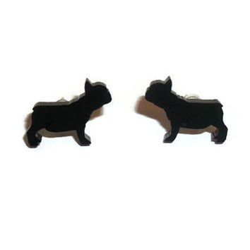 French Bulldog Earrings, Black Dog Stud Earrings, Animal Jewelry, Kawaii Cute Quirky