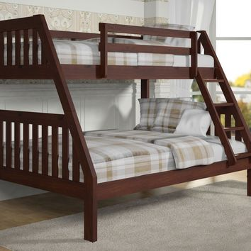 Ian Modern Dark Wood Twin over Full Bunk Bed