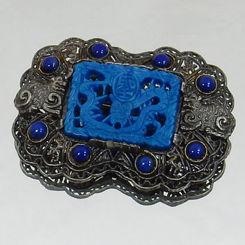 Little Nemo Brooch, 1930s Brooch, Downton Abbey,   Faux Lapis Lazuli, Asian Style, Art Deco Dragon Filigree Brooch, Brooch Bouquet Hairpiece