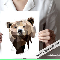 Bear art print JPG digital file